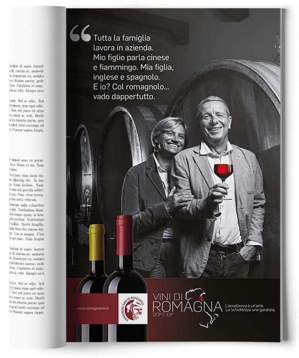 pagina adv con coppia  e bicchiere di vino rosso