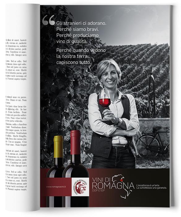 pagina adv con ragazza e bicchiere di vino rosso