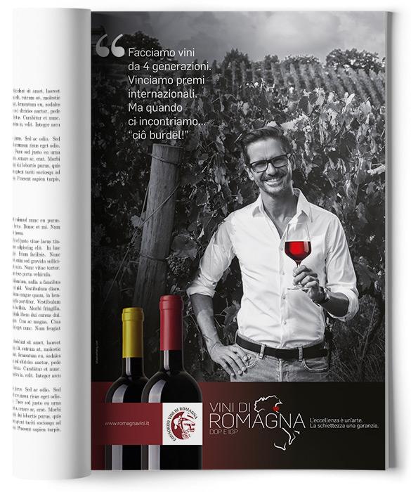 pagina adv con ragazzo e bicchiere di vino rosso