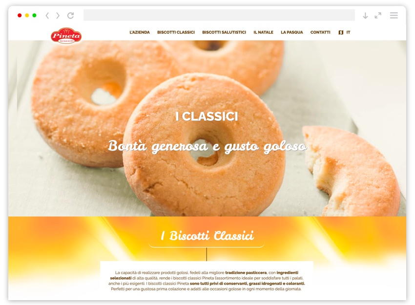 Schermata pagina biscotti classici sito Pineta
