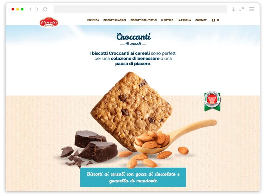 Schermata pagina biscotti salutistici sito Pineta