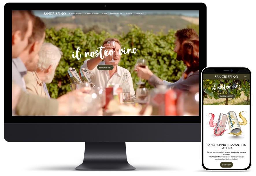 Schermata home page sito Sancrispino versione desktop e mobile