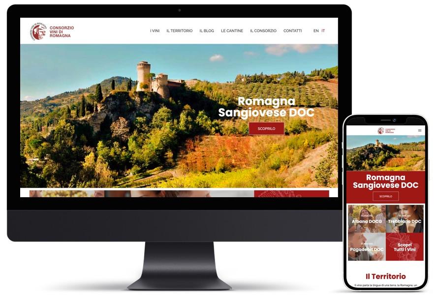 Schermata home page del sito consorzio vini di romagna, desktop e mobile